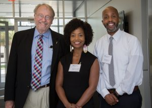 Dr. Thomas Pearson, director of the CTSI Translational Workforce Development Program, invited Dr. Ericka Boone, director of the NIH Loan Repayment Programs, to speak at the 2018 CTSI Research Day, to help identify opportunities for scholars, faculty and trainees to fund research careers. Pictured left to right with Omar McCrimmon, Communications Specialist for the NIH Loan Repayment Programs.